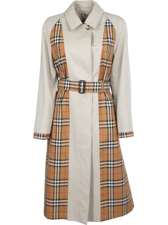 Burberry London England Checked Panel Trench Coat