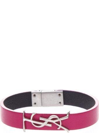 Saint Laurent Fresia Leather Bracelet With Logo