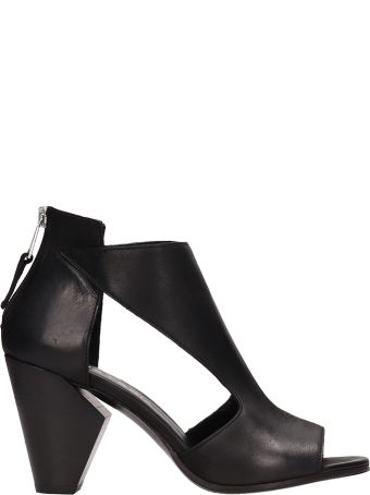 Strategia Black Calf Leather Sandals