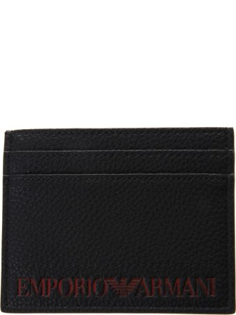Emporio Armani Black Faux Leather Card Holder With Logo