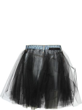 Ben Taverniti Unravel Project Unravel Tulle Layered Mini Denim Skirt