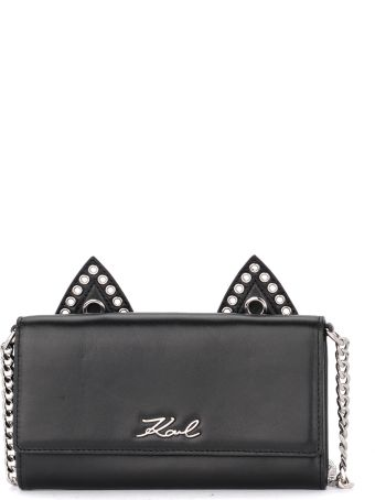Karl Lagerfeld Black Leather Pochette With Cat's Ears