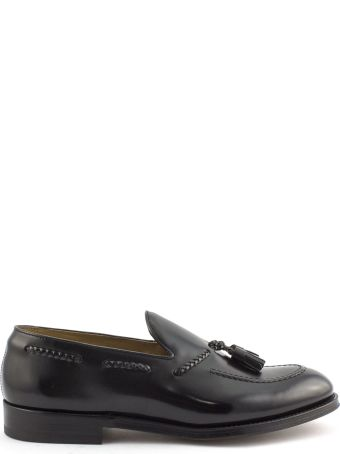 Doucal's Black Semi-glossy Leather Loafer