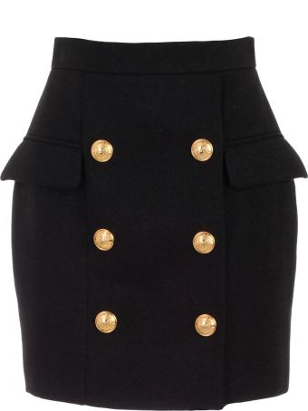 Balmain Buttoned High-waist Mini Skirt