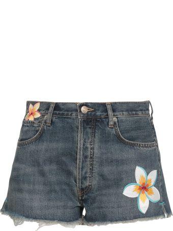 Alanui Hawaiian Flower Short Jeans