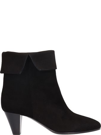 Via Roma 15 Black Suede Leather Ankle Boots