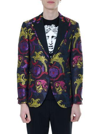 Versace Baroque Print Single Breasted Jacket In Silk Blend
