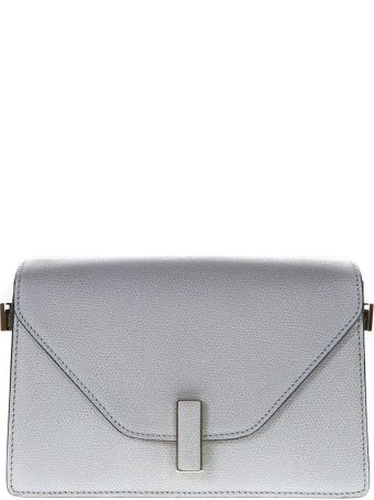 Valextra Light Gray Twist Lock Shoulder Bag In Leather