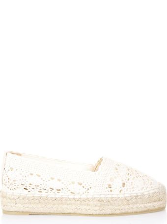 Castañer Natural Perforated Espadrille In Cotton
