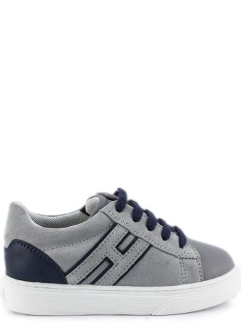 Hogan Sneakers H365 In Grey And Blue Suede