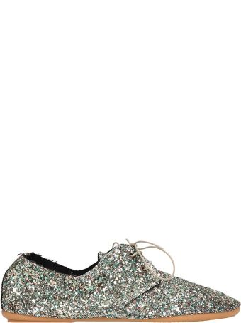Anniel Green Glitter Laces-up Shoes