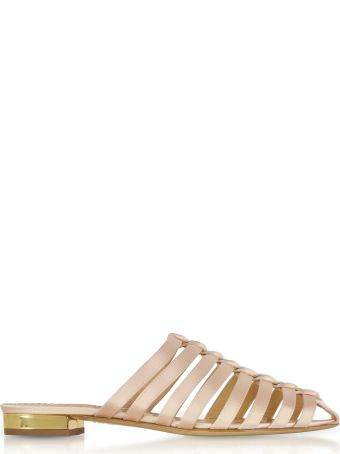 Charlotte Olympia Anya Antique Rose Silk Satin Flat Mules