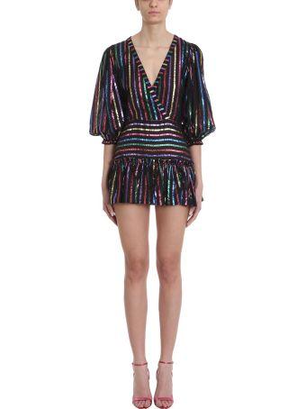 ATTICO Black Striped Lurex Modal Mini Dress