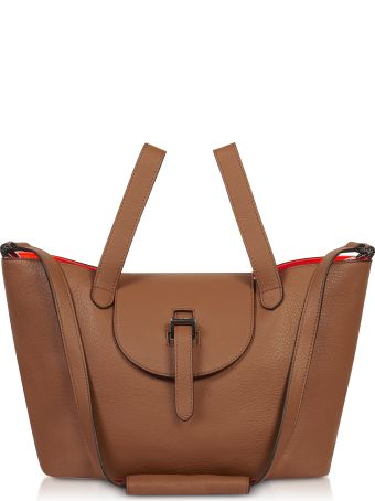 Meli Melo Tan & Neon Orange Thela Medium Tote Bag