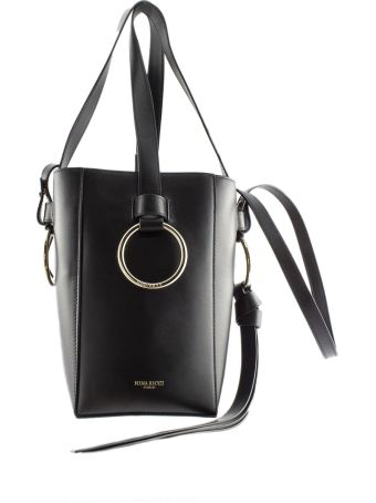 Nina Ricci Bucket Shoulder Bag In Black Leather.