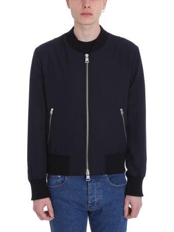 Ami Alexandre Mattiussi Zipped Blu Technics Fabric Jacket
