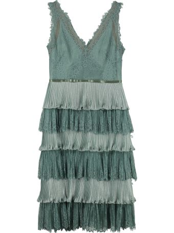 Marchesa Notte Flounced Lace Dress