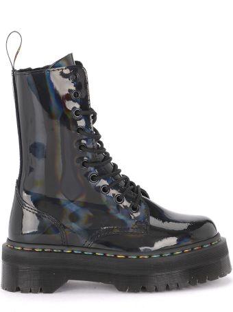 Dr. Martens Jadon Hi Rainbow Black Holographic Leather Ankle Boots