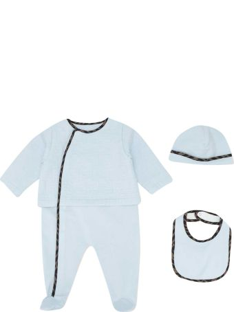 Fendi Three-piece Blue Baby Set