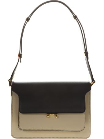 Marni Trunk Leather Shoulder Bag In Coffe And Black Color