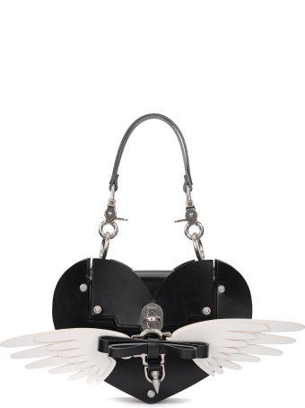Niels Peeraer Wings Heart Black Leather Bag