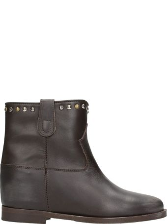 Via Roma 15 Dark Brown Leather Wedge Ankle Boots