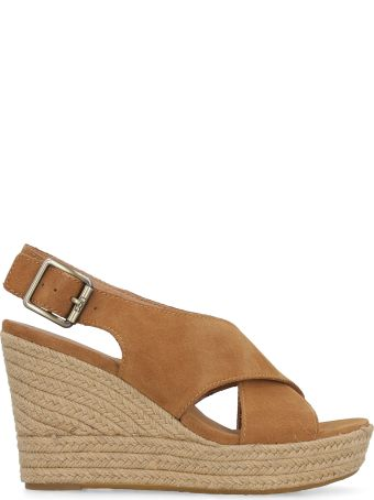UGG Harlow Suede Wedges With Crossed Bands