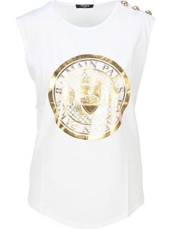Balmain Gold Balmain Medallion Print Tank Top