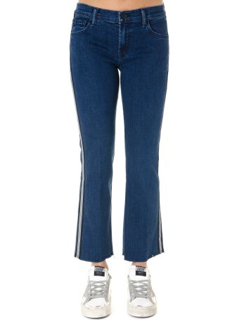J Brand Cropped Jeans In Blue Denim With Side Web