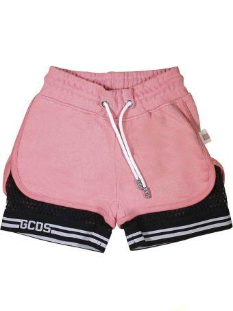 GCDS Mini Pink Shorts With Black Bermuda