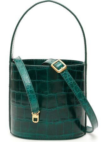 STAUD Croc-print Bissett Bucket Bag