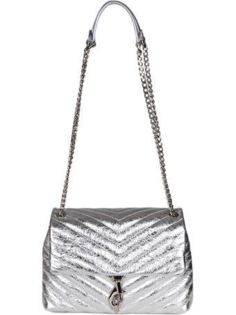 Rebecca Minkoff Edie Flap Bag In Laminated Leather Color Silver