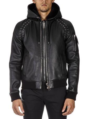 Les Hommes Black Leather Hoodie Jacket