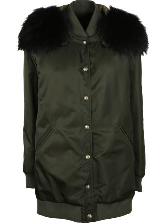 Mr & Mrs Italy Fur Hood Long Bomber Jacket