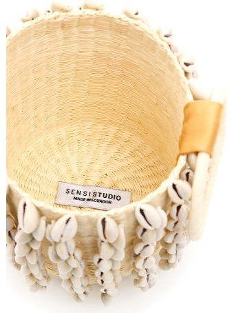 Sensi Studio Wicker Mini Bag With Cowrie Shells