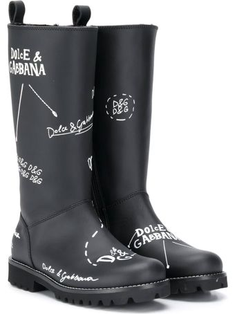 Dolce & Gabbana Black Teen Boots With White Print Dolce&gabbana Kids