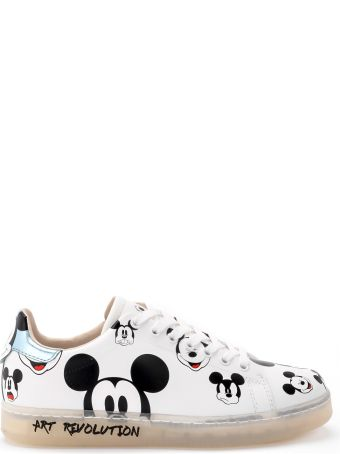 M.O.A. master of arts Moa Mickey Mouse White And Light Blue Leather Sneakers