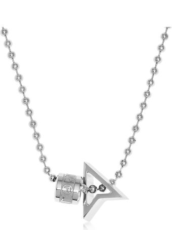 Northskull Silver North Pendant W/ Logo Wheel & Ball Necklace