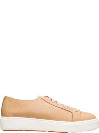 Santoni Santoni Beige Leather Sneakers