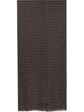 Corneliani brown and beige plaid wool blend silk Scarf