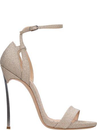 Casadei Nude Glitter Leather Blade Sandals