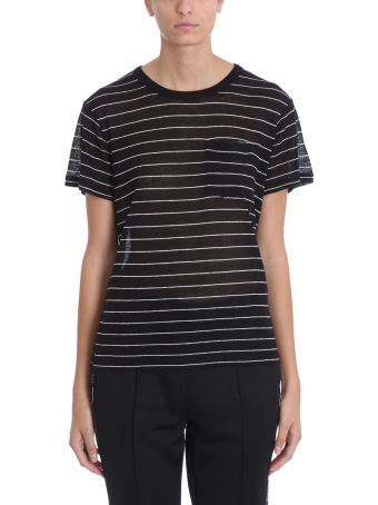T by Alexander Wang Black White Striped Tee