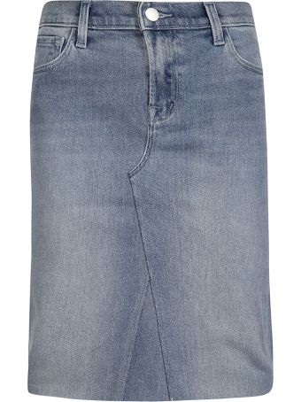 J Brand Frayed Denim Skirt