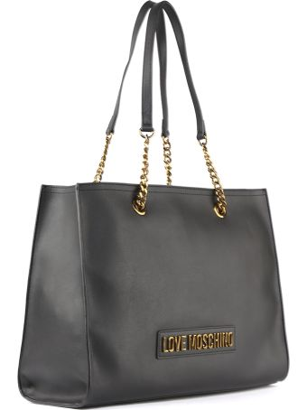 Love Moschino Black Faux Leather Shopper Bag