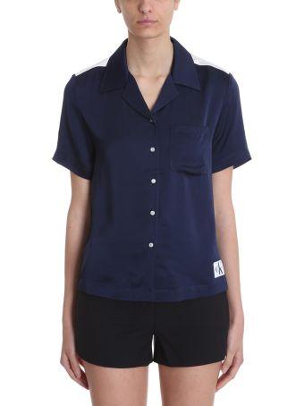 Calvin Klein Jeans Blue And White Satin Shirt