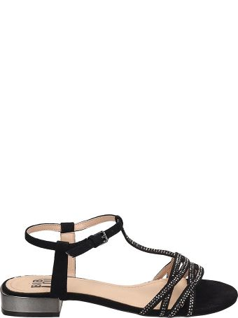 Bibi Lou Black Suede Flat Sandals