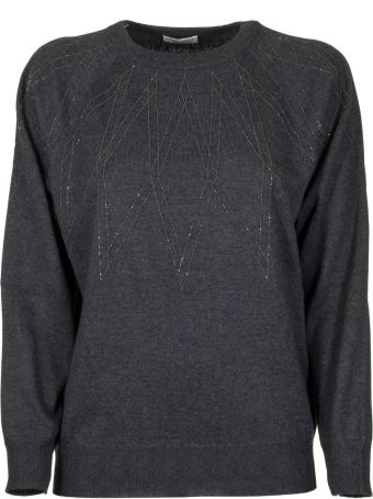 Brunello Cucinelli Anthracite Round Neck Sweater