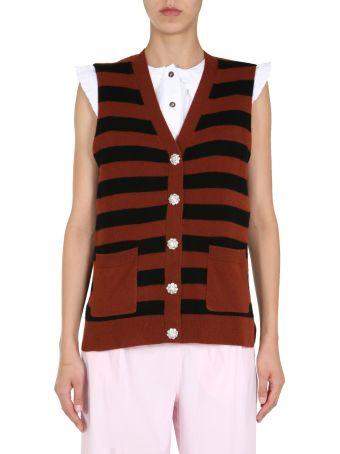 Ganni Striped Motif Vest
