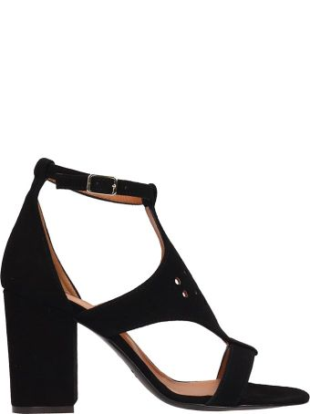 Via Roma 15 Black Suede Sandals
