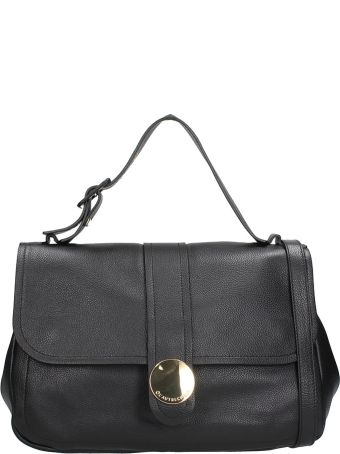 L'Autre Chose Black Leather Top Handle Bag